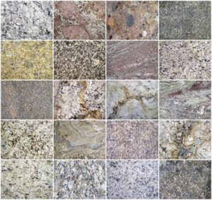 Different colors and shades of granite countertops.