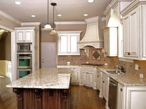 Granite countertops installed in a kitchen.